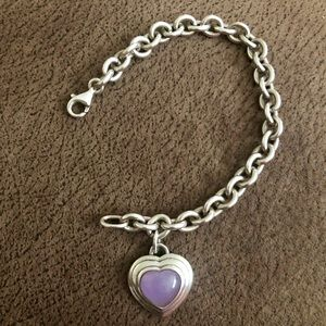 STERLING SILVER chain link bracelet with heart!
